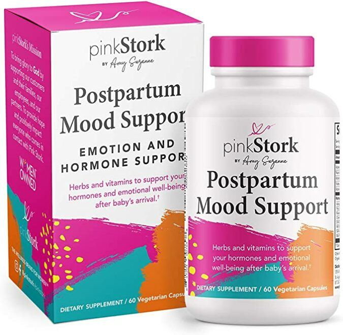 pink stork postpartum mood support balance hormones with